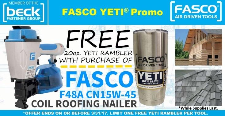 Free YETI Rambler With Fasco Roof Nailer