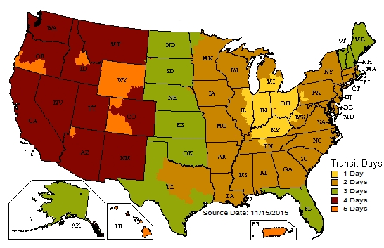 Nail Gun Depot UPS Shipping Map