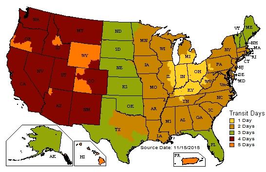 Nail Gun Depot UPS Shipping Map