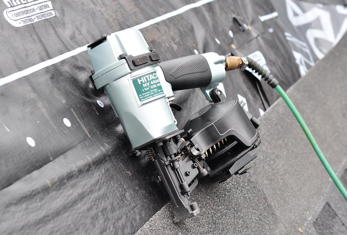 hitachi air nailer. nailing versus stapling for roof shingles hitachi air nailer