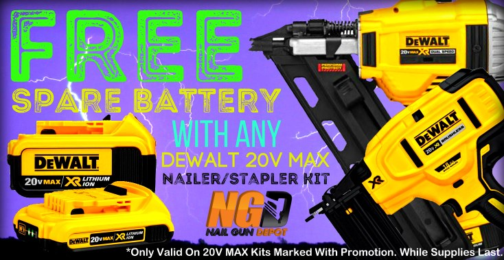 Free Battery with any Dewalt 20V Max Nailer/Stapler Kit