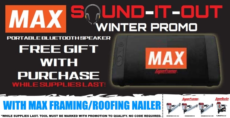 Free Bluetoth speaker with a MAX framing or roofing nailer