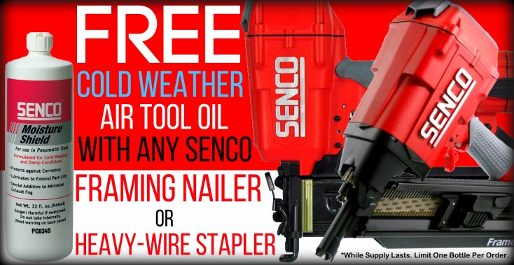 Free Cold Air Tool Oil With Senco Framing Nailer or Heavy-Wire Stapler